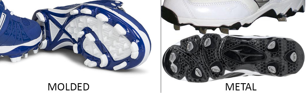 molded and metal cleats