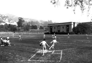 Outdoor softball playing
